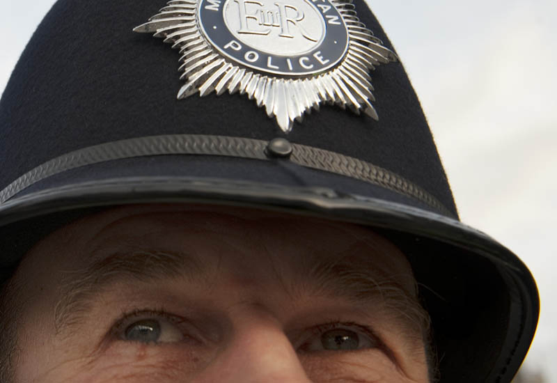 A policeman is pictured outside Britain'