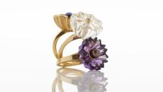 FLORA BHATTACHARY Small Jyamiti Rings Amethyst, Rock Crystal, Peacock Pearl, 18 carat©Sylvain_Deleu_ from £1,490