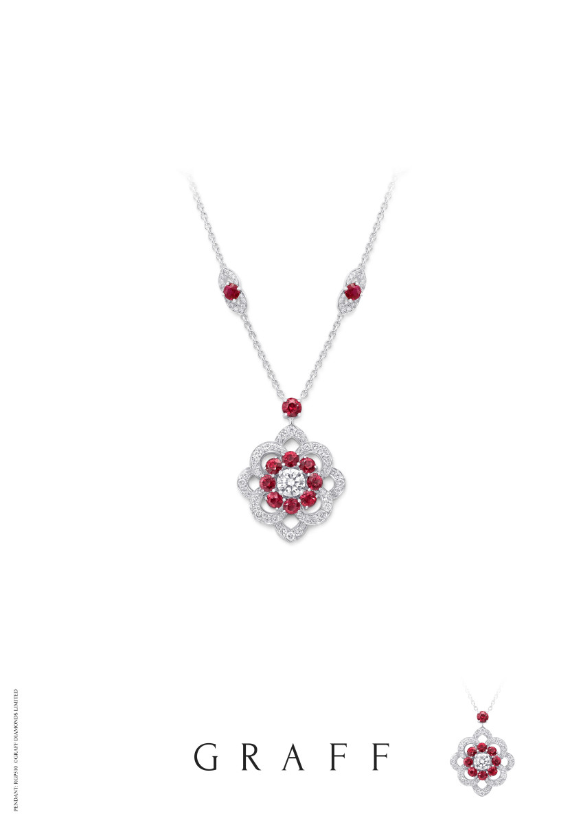 RGP510 Ruby and Diamond Rosette Pendant Large
