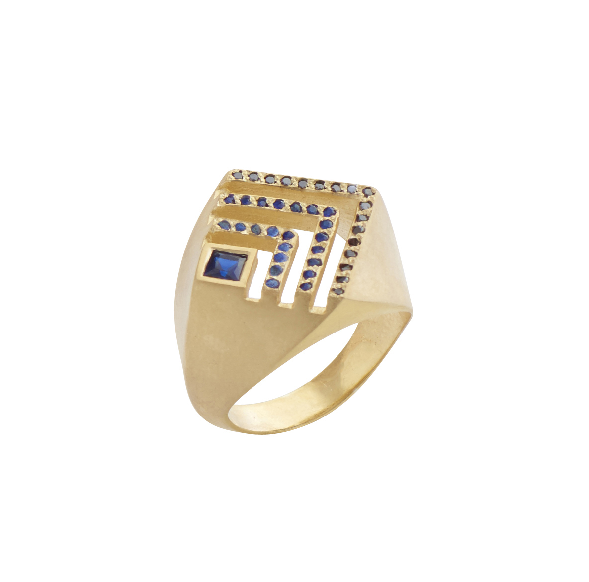Flora Bhattachary Baoli Ring in Sapphire and Black Diamond