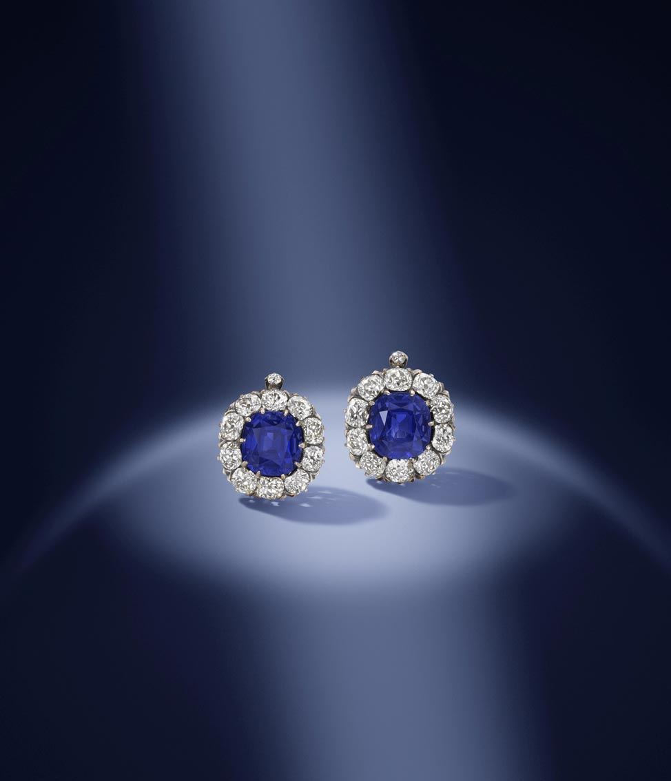 1. A pair of late 19th century Kashmir sapphire and diamond earrings