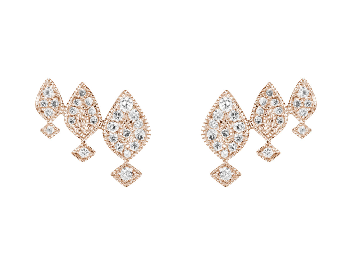 Gatbsy Boucles d'oreilles Montantes Or rose et diamants