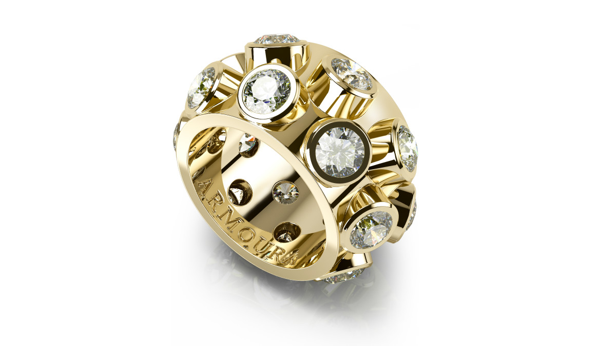 45 Degree ring in 18ct yellow gold and clear round cut diamonds