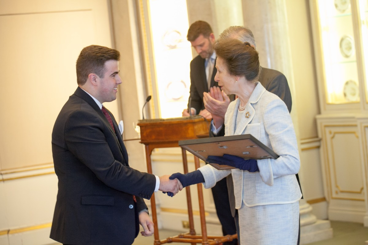 Benjamin Pritchard receives the Goldsmiths' Young Apprentice of the Year Award from HRH, The Princess Royal © Phill Gammon Photography, 2016