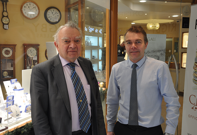 Jason Rigby (right) runs Rigby Jewellers - the longest established shop on the street - with his father, John Rigby (left).
