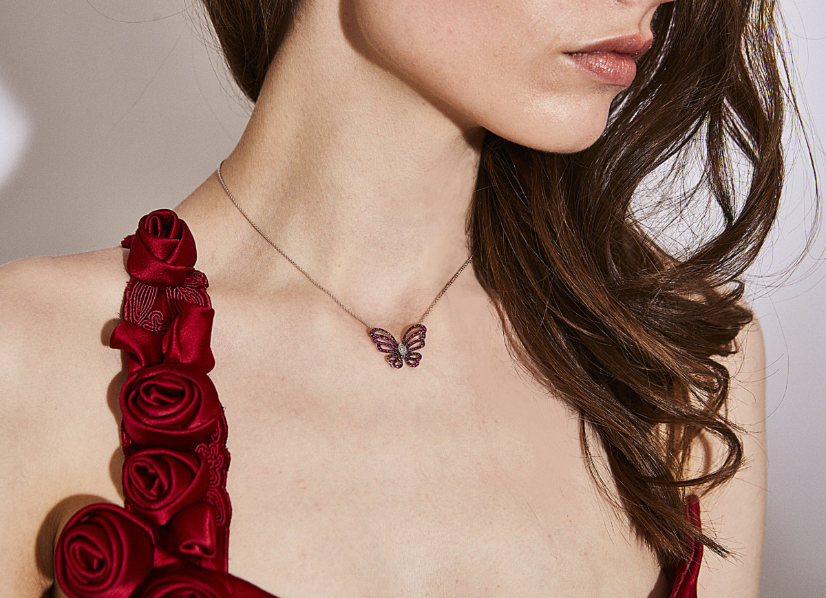 Catherine Walker & Co and Gismondi 1754 Collaboration Butterfly Pendant Lifestyle