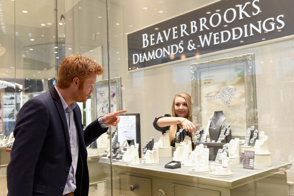 'Prince Harry' aka Andrew Witter picks an engagement ring at Beaverbrooks, Westfield Stratford City shopping centre