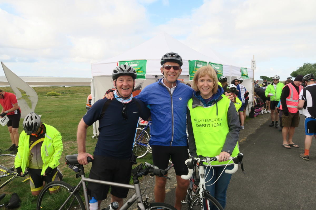 David Carleton, Mark Adlestone (Chairman) and Susie Nicholas (Charity Manager) – Beaverbrooks Bike Ride
