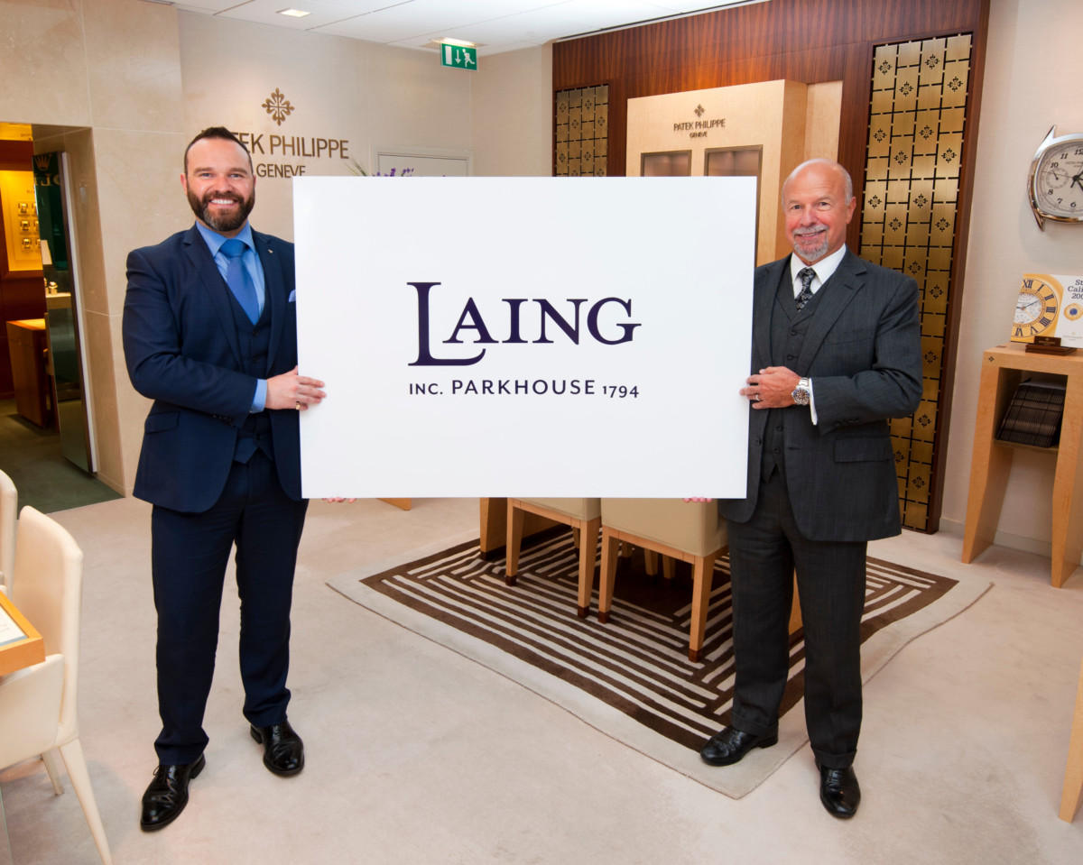 Parkhouse, the luxury family jewellers, has announced a store move from Above Bar, Southampton, to the new luxury corner in Westquay. The move coincides with a re-brand from Parkhouse to Laing and is a significant milestone for this leading sixth generation jewellery business. Pictured: Laing Chariman, Michael Laing OBE, (right) and his son Richard Laing, who is Director of the family business, in Southampton to officially make the announcement. Picture: Chris Balcombe/FREE for use in all media