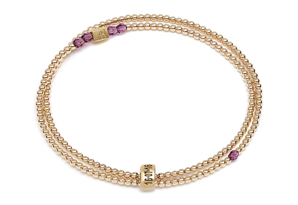 ANNIE HAAK_Grace Swarovksi Crystal Gold Bespoke Looped Bracelet_Amethyst_£120