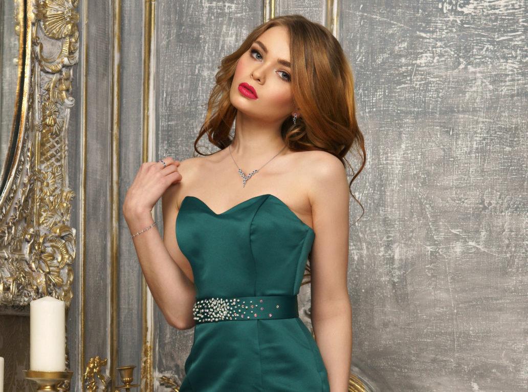 Elegant lady in evening dress