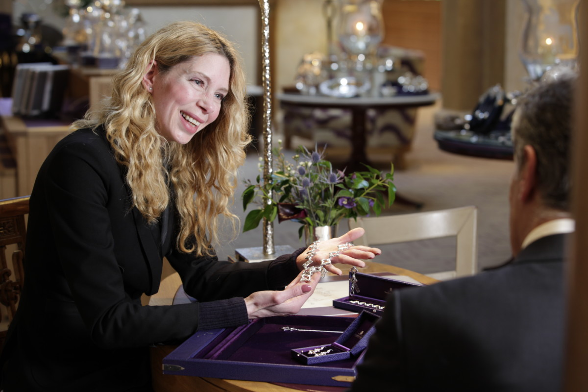 Debbie McKernan, Head of Jewellery, Hamilton & Inches, with Lily II Collection