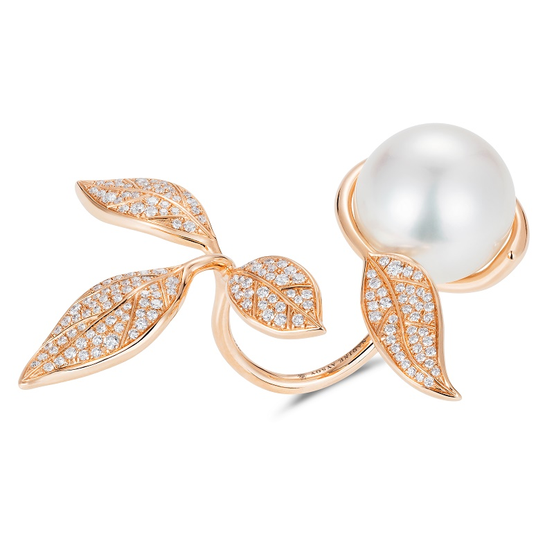 Mille et Une Feuilles Rose Gold Ring in rose 18K gold 1 south sea pearl 14mm 164 white round-cut diamonds 0.70ct 5.40000 LR