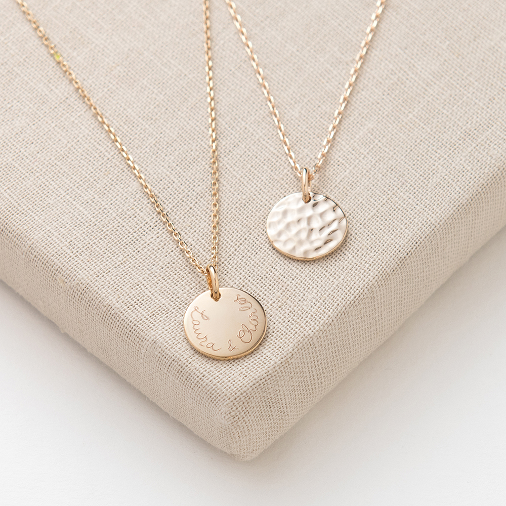 Personalised small hammered necklace lifestyle