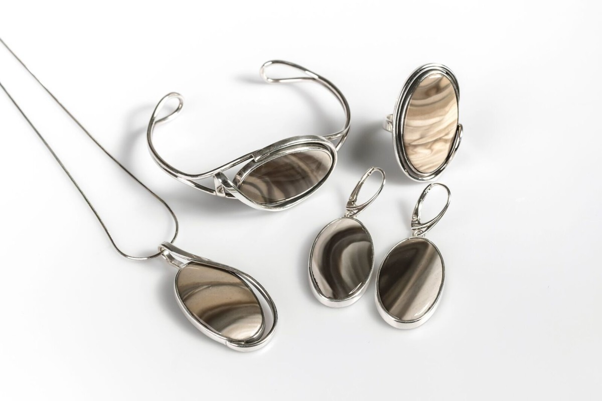 Henryka Striped Flint collection sterling silver