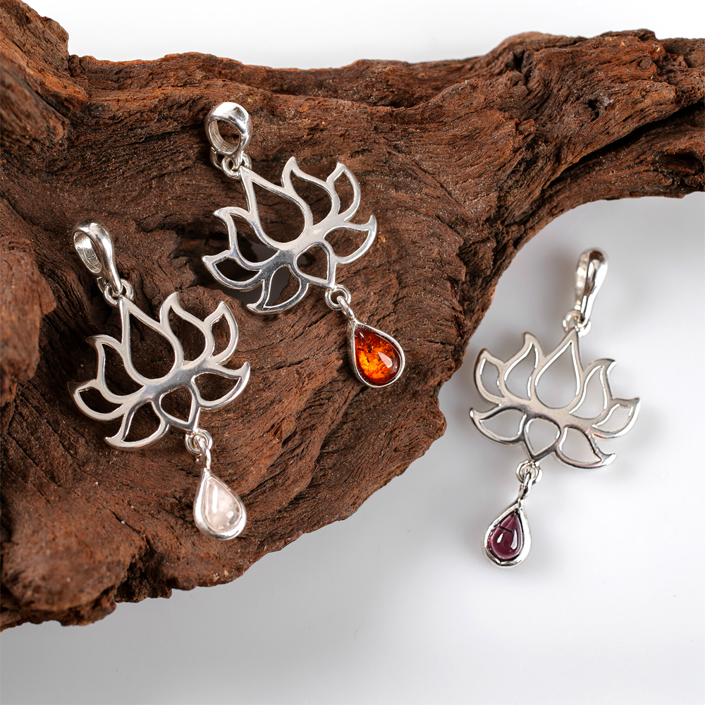 Lotus Flower Pendants set with Rose Quartz, Cognac Amber and Amethyst – Henryka