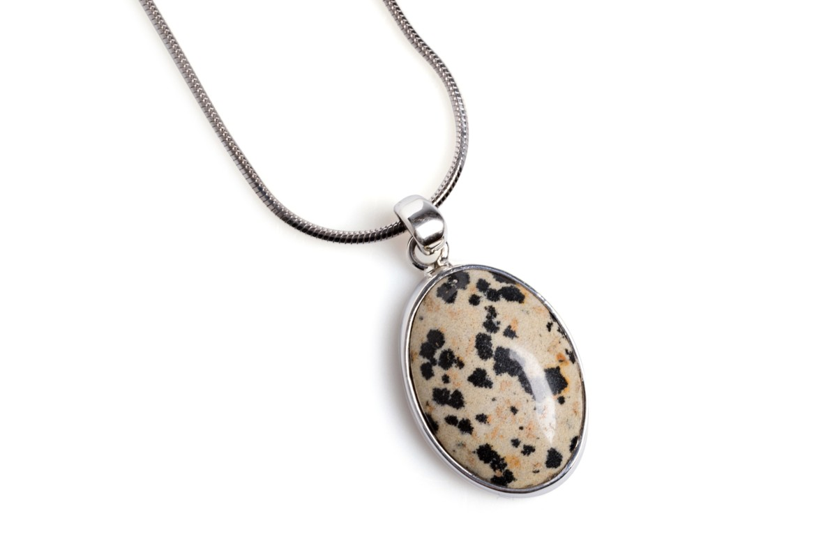 Henryka Natural Stones Dalmation Jasper Necklace in Sterling Silver setting