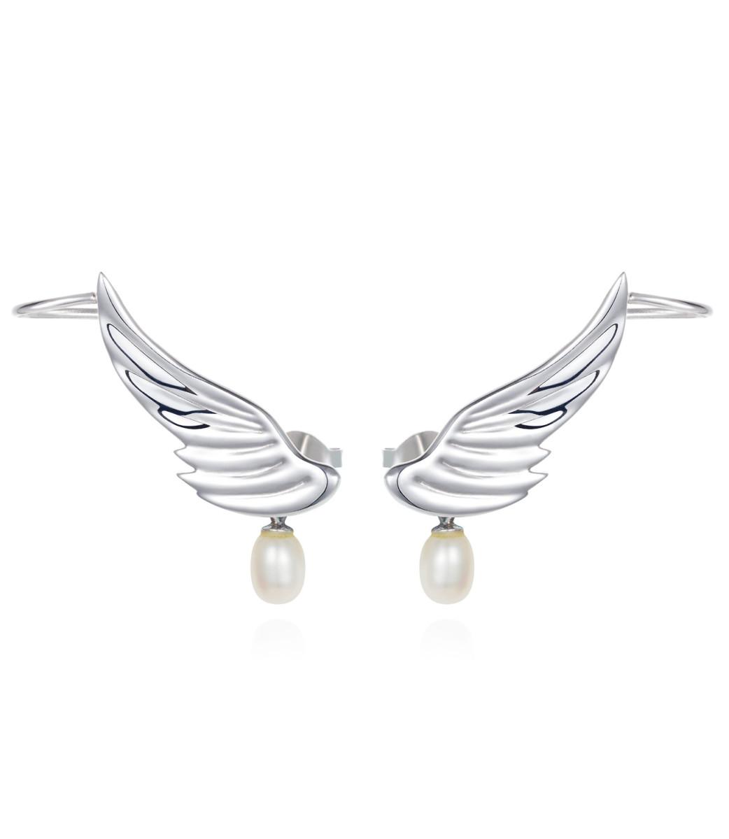 Lyra Silver Wing Ear Climbers