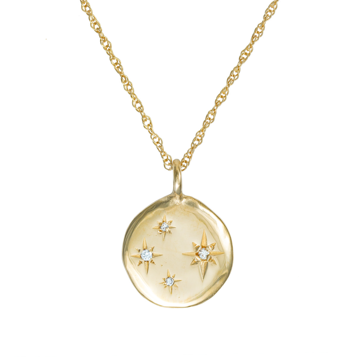 Chupi Solid Gold Stars in the Sky Disc 4 diamond Necklace, £710