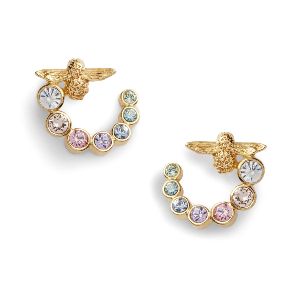 OLIVIA BURTON – OBJ16AME132 – RAINBOW BEE SWIRL HOOP EARRINGS GOLD – £50.00