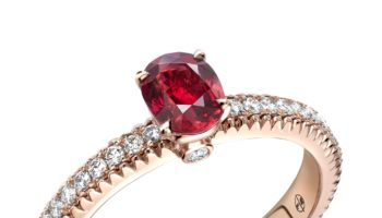 Ruby – fluted with diamonds